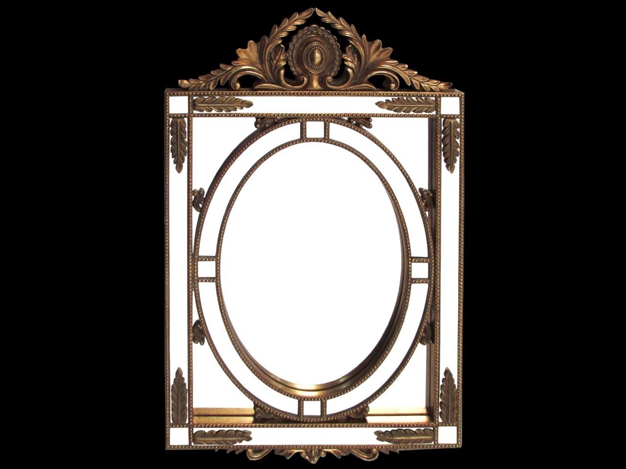Espelho Retangular Com Detalhe Redondo Dourado - Frontier