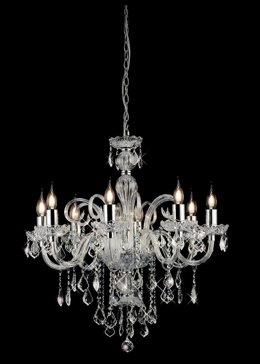 Lustre de Metal Cristal Cromado Transparente 8 lâmpadas Tiana - Mantra