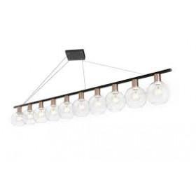 Pendente Moderno Cúpula de Vidro Transparente Com Bronze e Estrutura Preta 10 Lâmpadas - Old Artisan