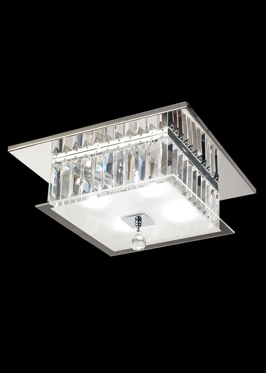 Plafon de Metal Cristal Cromado Transparente 4 lâmpadas Torre - Mantra