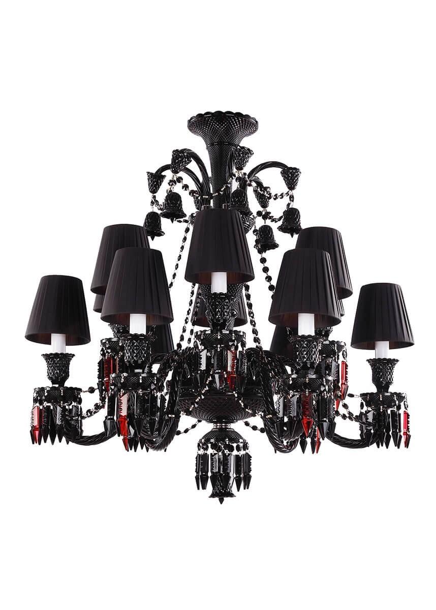 Lustre de Candelabro de Cristal Preto 12 Lâmpadas Com Cúpula Baccarat