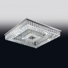 Plafon de Cristal Transparente e estrutura Quadrada de Aço Cromado 24 Lâmpadas - Old Artisan