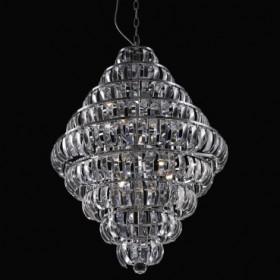 Pendente de Aço Cromado no Vidro 8 Lâmpadas +Luz Iluminação