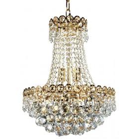 Lustre de Cristal Dourado 6 Lâmpadas FT Elizabeth
