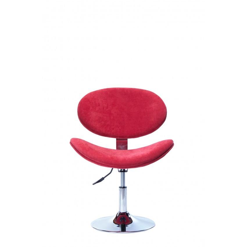 Cadeira Decorativa Bella Giratória com Base Disco Cromada Vermelha