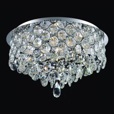 Plafon de Cristal Translúcido de Aço Cromado 9 Lâmpadas +Luz Iluminição