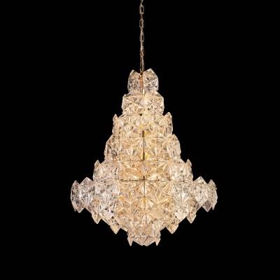 Lustre de Vidro Transparente Zara e Estrutura Cobre 12 Lampadas - Bella