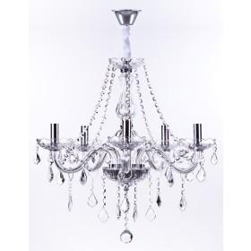 Lustre de cristal Maria Thereza Transparente 5 Lâmpadas