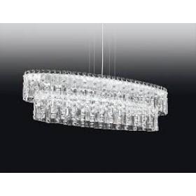 Pendente Moderno Cristal Transparente Estrutura Retangular Cromada 7 Lâmpadas - Old Artisan