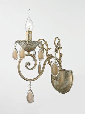 Arandela Lancaster Metal e Cristal Dourado com Branco Jateado 1 Braço -Tupiara