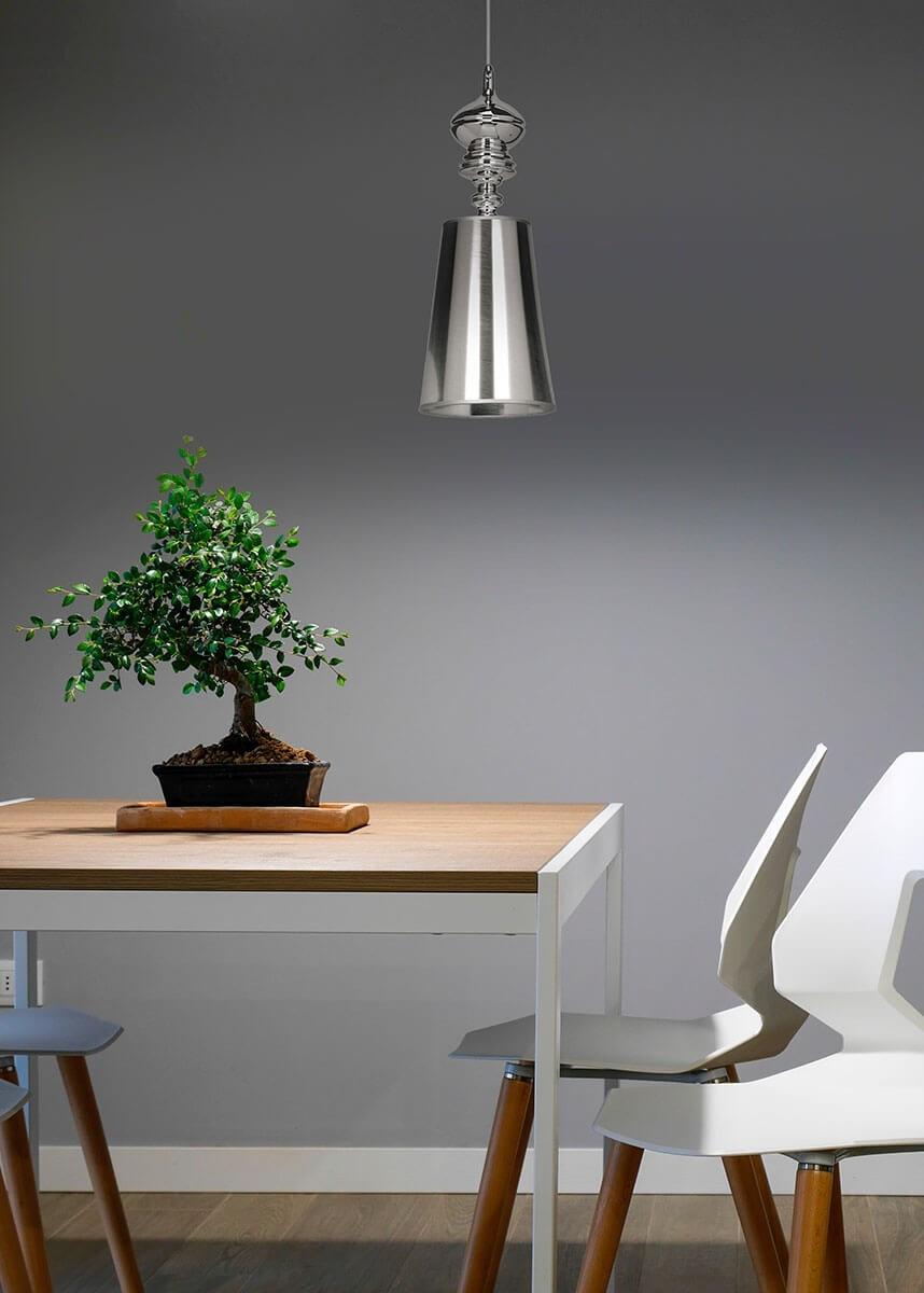 Pendente de Metal Acetato Prata 01 lâmpada Claire - Mantra