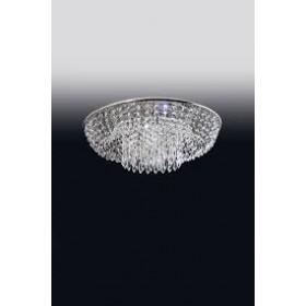 Plafon de Cristal Transparente e estrutura Redonda de Aço Cromado 8 Lâmpadas - Old Artisan