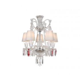 Lustre de Candelabro de Cristal Baccarat Transparente 5 lâmpadas com Cúpula Branca