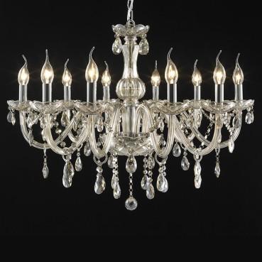 Lustre Candelabro de Cristal Maria Threreza Conhaque 10 Lâmpadas +Luz Iluminação