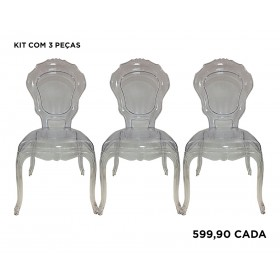 Kit com 3 Cadeiras Policarbonato Luis XV Princess sem Braços Transparente