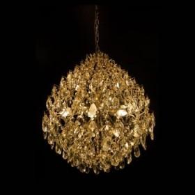 Lustre Moderno de Cristal Champagne e Estrutura em Metal Dourado 24 Lâmpadas - JLR