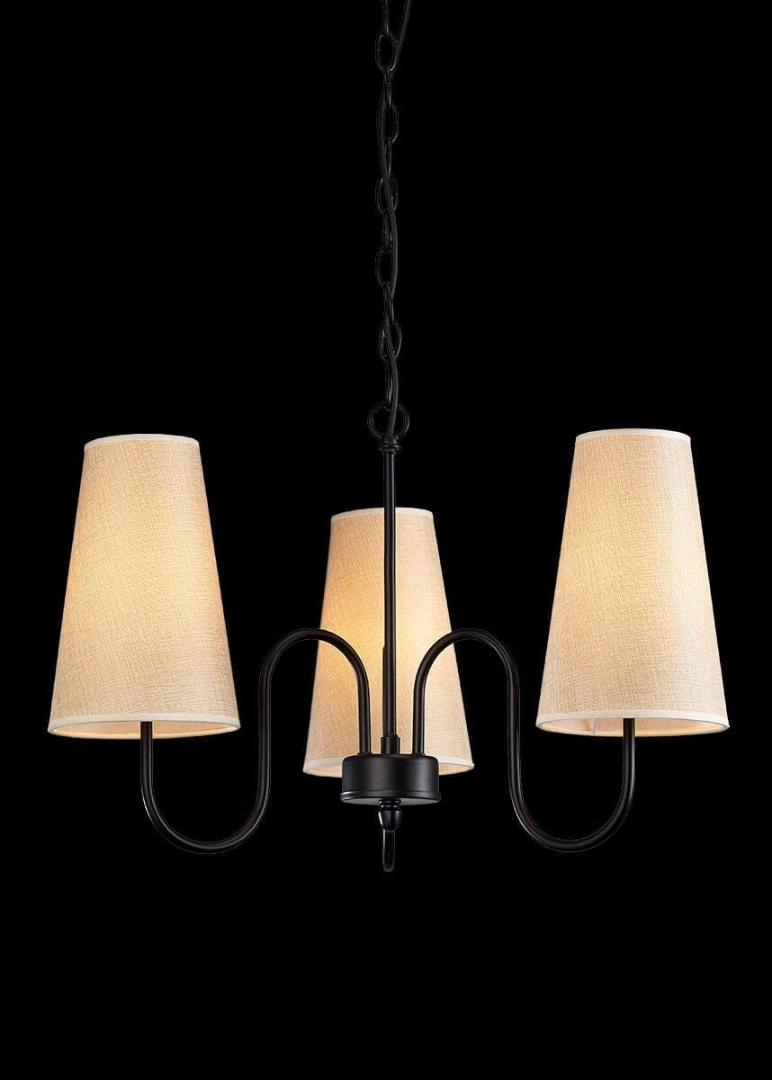 Lustre de Metal Preto Fosco 3 lâmpadas Turin - Mantra