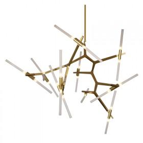 Pendente Moderno em Metal Dourado Fosco e Vidro Fosco 20 Lâmpadas G9 - Pier