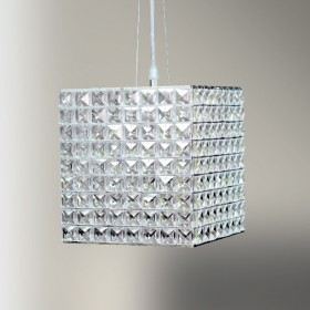 Pendente Quadrado Cristal 2 Lâmpada -GoldenArt