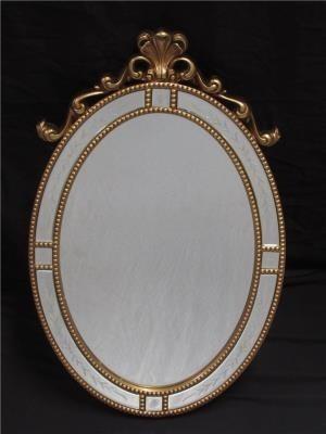 Espelho Oval Com Detalhes Dourados- Frontier