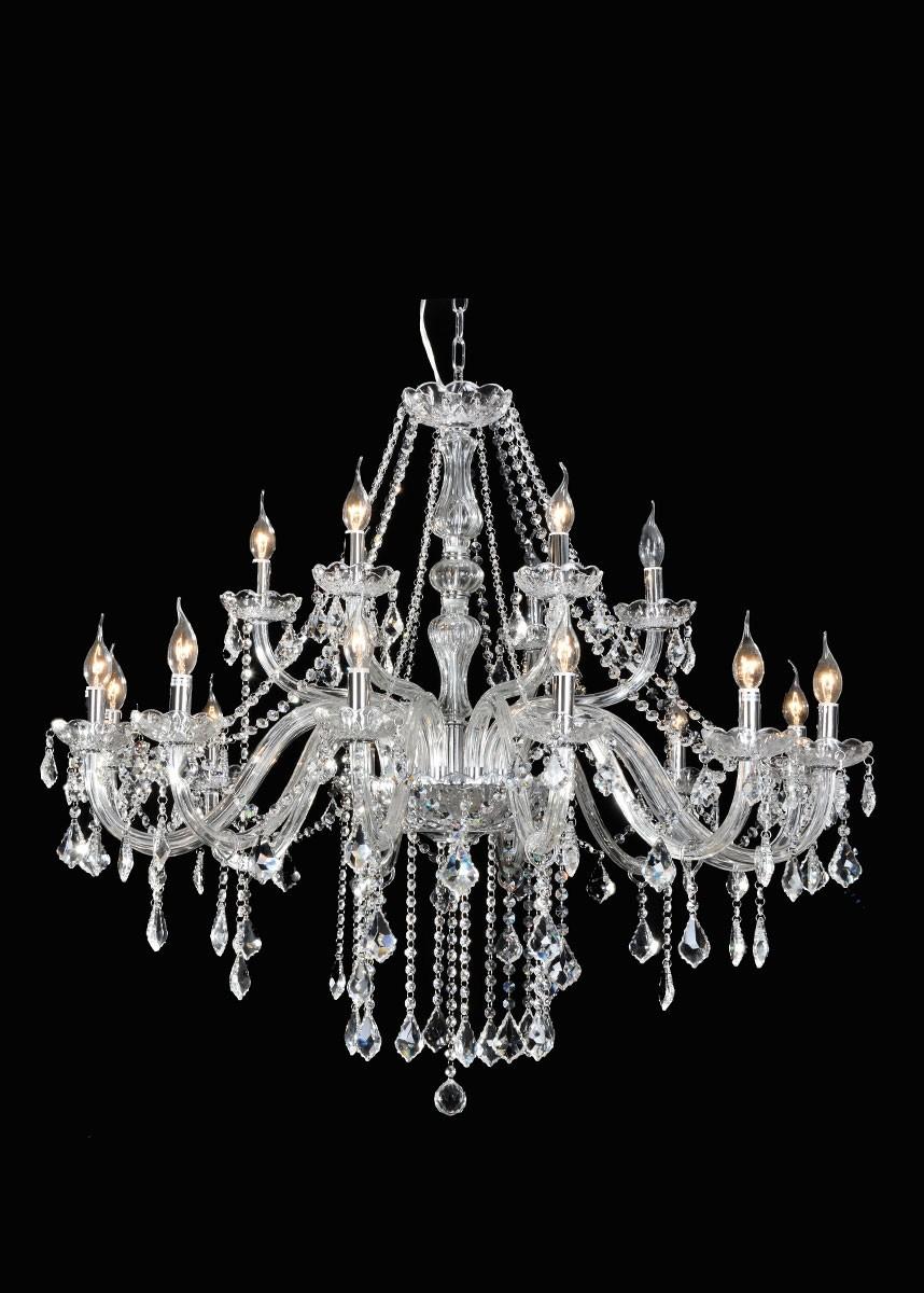 Lustre de Cristal Maria Thereza Transparente 18 Lâmpadas