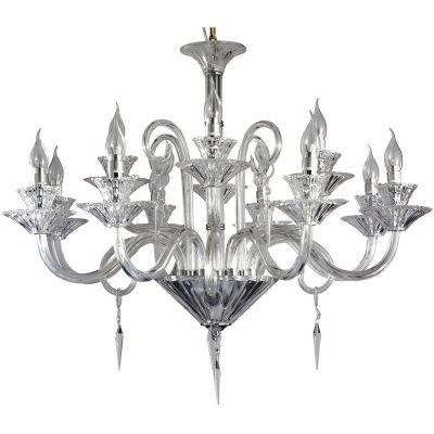 Lustre Duport Cristal Transparente Metal Cromado 12 Lâmpadas - Pier
