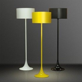 Luminária de Chão Mistt Minimalista Cone Amarela 1 Lâmpada Goldenart
