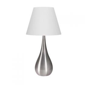 Abajur de Metal Escovado com Cúpula de Tecido Branco 1 lâmpada Instabile G - Luciin