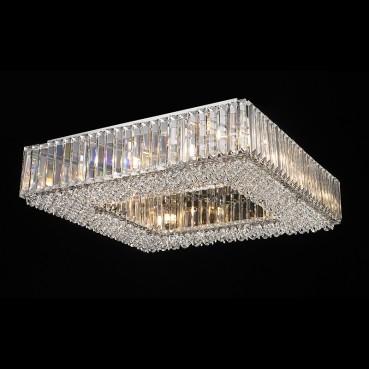Plafon de Cristal Translúcido de Aço Cromado 12 Lâmpadas +Luz Iluminição