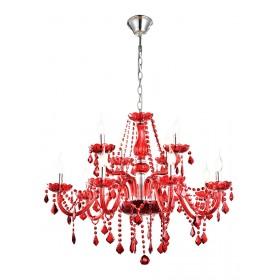 Lustre de Cristal Maria Thereza Vermelho 12 lâmpadas