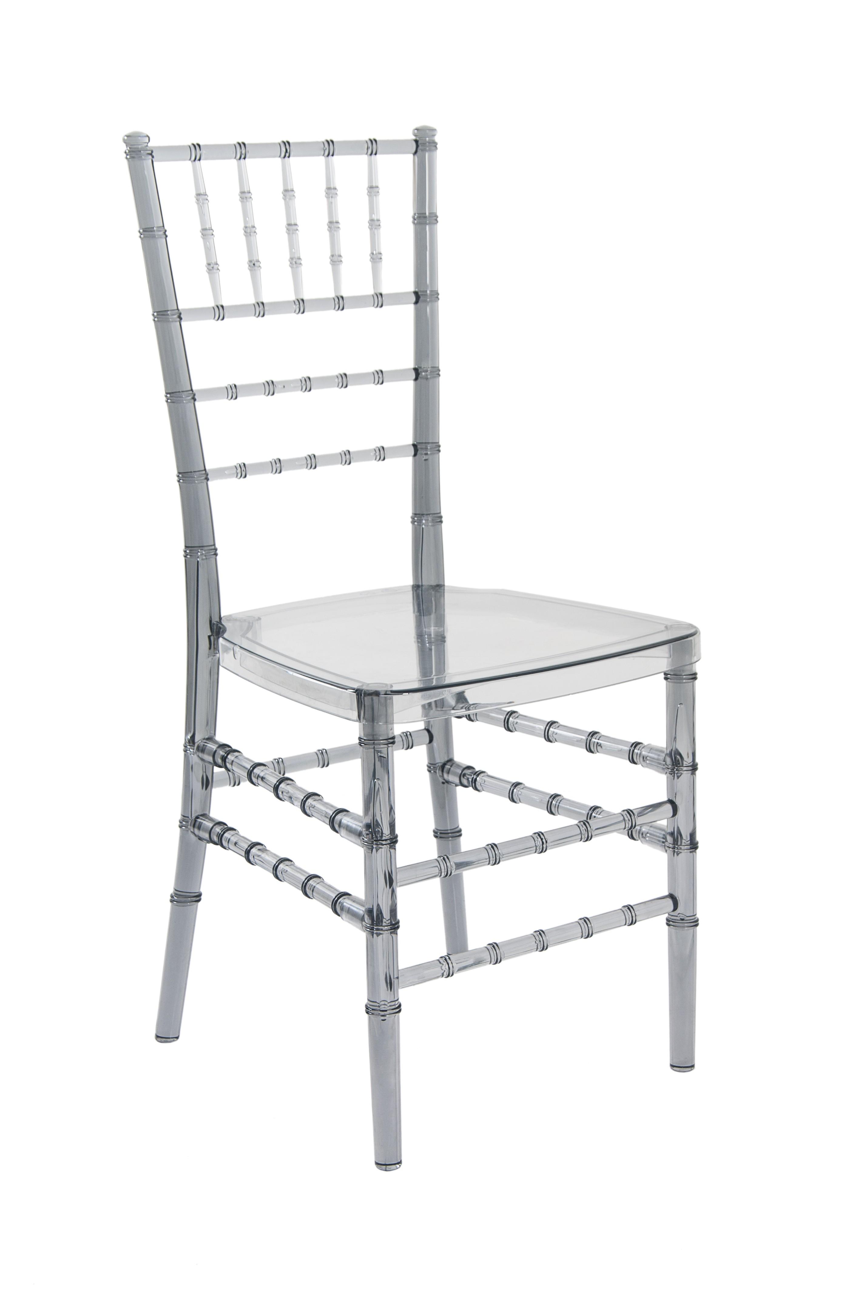 Cadeira Cristal Policarbonato Tiffany Sem Almofada Fume