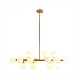 Pendente Moderno Cúpula de Vidro Branco Leitoso Com Estrutura Dourada 16 Lâmpadas - JLR