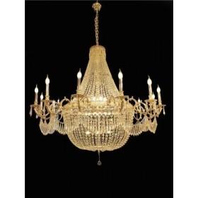 Lustre de Cristal Transparente Modelo Imperial com Estrutura Dourada 25 Lâmpadas - Frontier