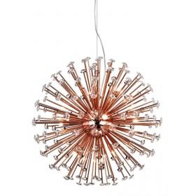 Pendente Moderno Rosé Gold com Cristais e 12 Lâmpadas Astro
