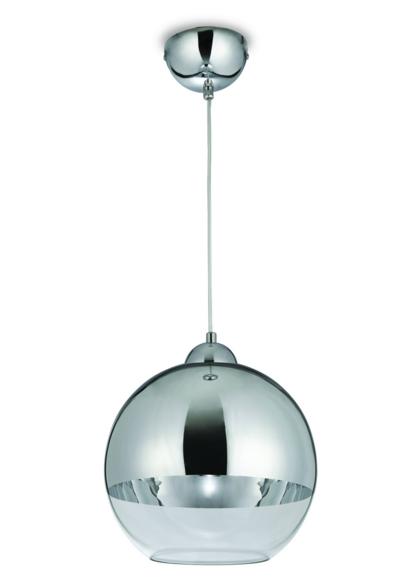 Pendente de Vidro Cromado 29cm 1 Lampada Blumenau