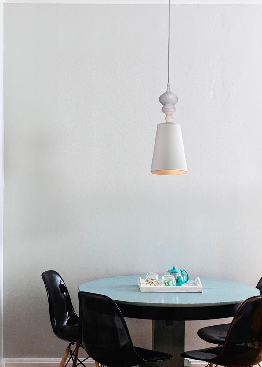 Pendente de Metal Tecido Branco 01 lâmpada Claire - Mantra