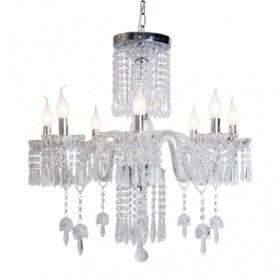 Lustre de Cristal Asfur Egípcio Transparente Bivolt com 8 Lâmpadas E14 Copacabana - Sigma