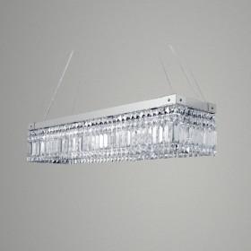 Pendente Retângulo De Cristal 10 Lâmpada -GoldenArt