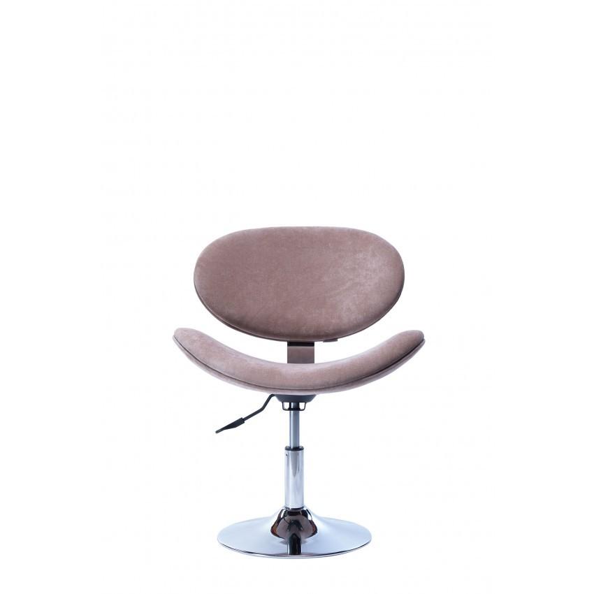 Cadeira Decorativa Bella Giratória com Base Disco Cromada Nude