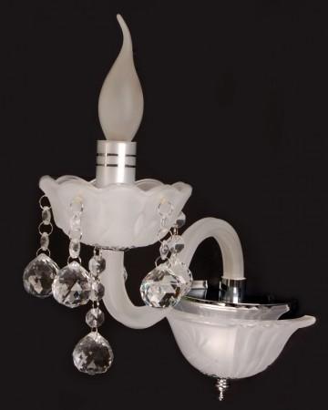 Arandela Branca com Cristais Transparentes e Acabamento Frost 1 Lâmpada Piemonte - Sigma