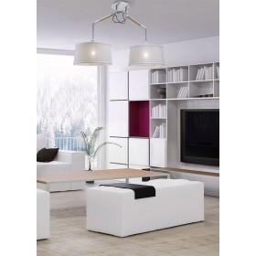 Pendente de Metal Madeira PVC Branco 02 lâmpadas Nordica Mantra