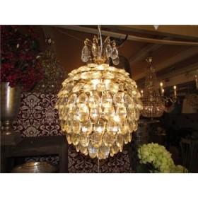 Lustre Arredondado de Cristal Dourado 3 Lâmpadas - Frontier