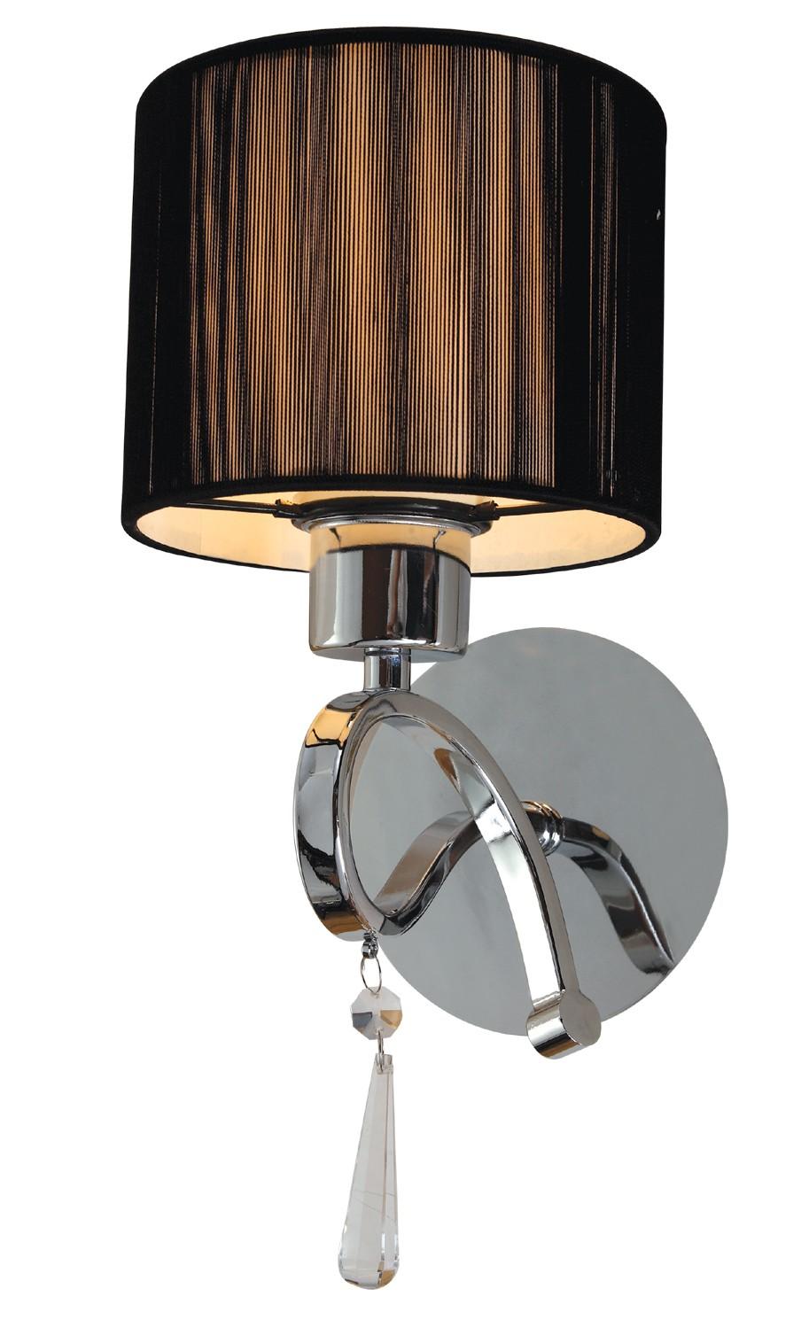 Arandela de cristal 1 lâmpada cúpula preto VZ