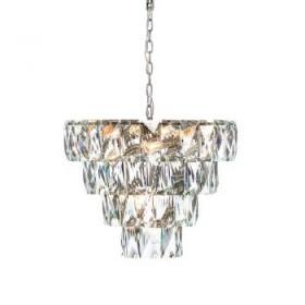 Lustre Pendente Cascata de Cristal Transparente Com Estrutura Redonda Cromada 30 Lâmpadas - JLR