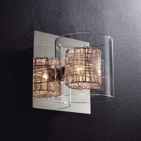 Arandela com Cupula de Vidro Redondo Ravel com Base Cromada 1 Lampada - Bella