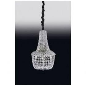 Lustre Imperial de Cristal Transparente e Estrutura em Metal Cromo 7 Lâmpadas - Old Artisan
