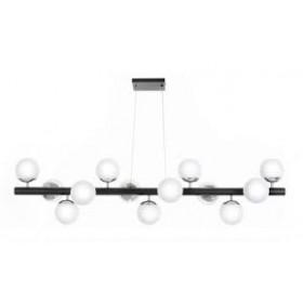 Pendente Moderno Cúpula de Vidro Branco Leitoso Com Cromo e Estrutura Preta 13 Lâmpadas - Old Artisan