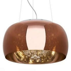 Pendente Moderno com Cúpula de Vidro Espelhado Bronze e Cristal Transparente 9 Lampadas - JLR