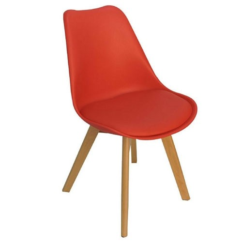 Cadeiras 4 Pés Em Madeira Eames DKR Vermelha - Desingchair