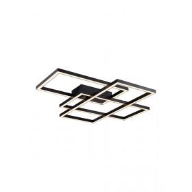 Plafon Arandela Quadrado de Led Estrutura em Metal Preto Texturizado 1 Lâmpada Quadrus +Luz Iluminição